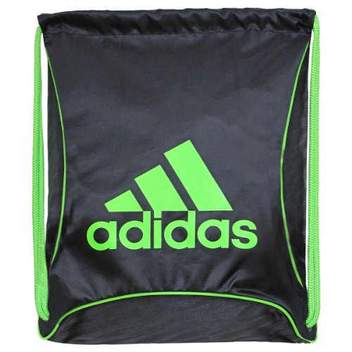 adidas Bolt Sackpack, 18 x 14 1/4-Inch, Black/Solar Green/Black-Shockwave Emboss