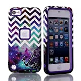 Lantier For iPod Touch 5th Case,Plastic Dual Layer TUFF Hard Cover Camo Hybrid Silicone Quakeproof Drop Resistance Protective Shell Case for iPod Touch 5 5th Generation with Screen Protector and Stylus Pen Chevron Anchor Star Galaxy Purple