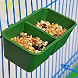 2-in-1 Double Trough Bird Food Feeding Dish Water Seed Feeder Bowl for Parrot Macaw African Grey Budgie Parakeet Cockatiel Conure Canary Cage
