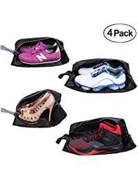 Travel Shoe Bags Set of 4 Waterproof Nylon with Zipper for Men & Women (Black)