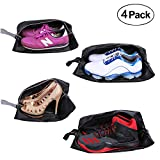 YAMIU Travel Shoe Bags 4-Pack(2 Sizes) Waterproof Nylon with Zipper for Men & Women (Black)