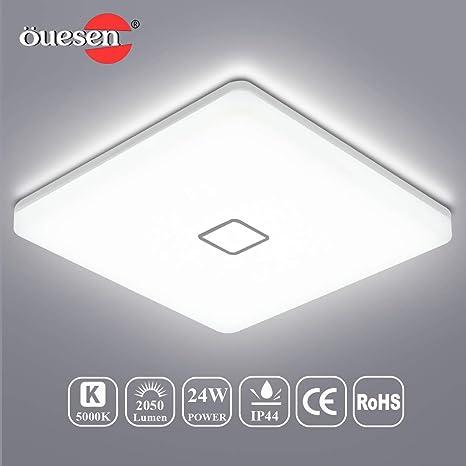 LED Lámpara de Techo, Öuesen 24W 5000K Plafon Led de Techo Lampara Techo Dormitorio IP44 lampara techo Blanco frío 2050LM lampara led para Baño Cocina ...