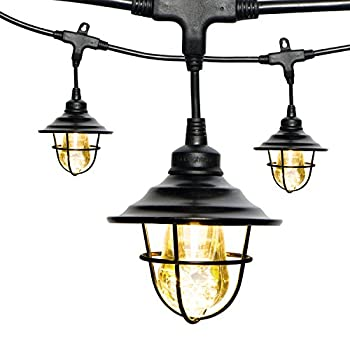 Enbrighten Vintage LED Café String Lights with Oil-Rubbed Bronze Lens Shade, Black, 48ft, 24 Lifetime Bulbs, Premium, Shatterproof, Weatherproof, Indoor/Outdoor, UL Listed, 43377