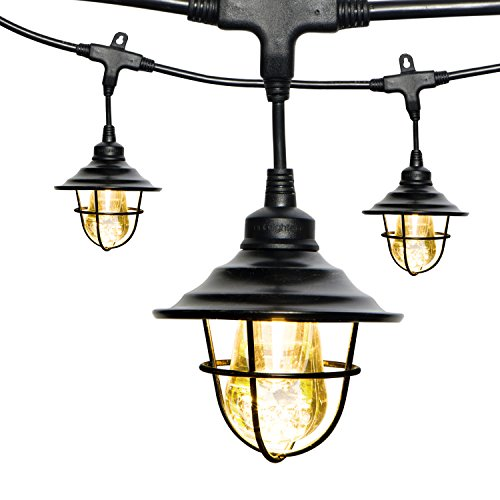 (Enbrighten Vintage LED Café String Lights with Oil-Rubbed Bronze Lens Shade, Black, 24ft, 12 Lifetime Bulbs, Premium, Shatterproof, Weatherproof, Indoor/Outdoor, UL Listed,)