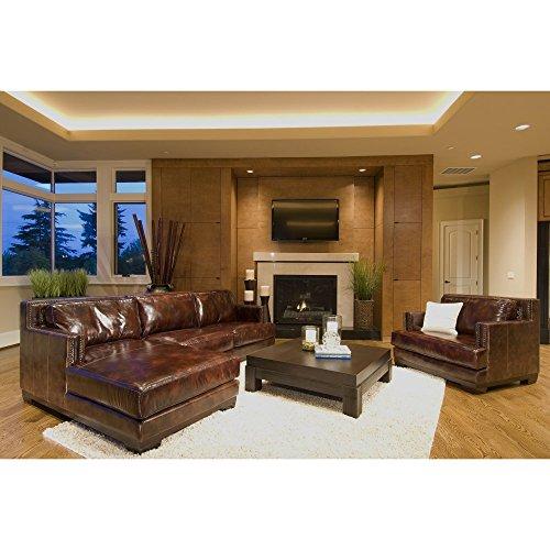 Elements Davis 2-Piece Top Grain Leather Sectional Sofas in Saddle, (Leather Sectional Top Grain)