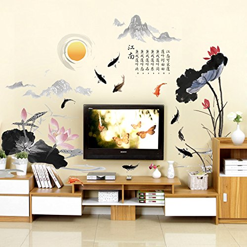 (Wall Stickers Creative Chinese Characters Wallpaper Paste Painting Warm Living Room Bedroom Wallpaper Self-Adhesive,Lotus Leaf Fish,Extra Large)