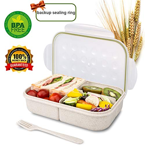 (Bento Box for Kids Lunch Box Lunch Container for Adults, Leak Proof Bento Lunch Container, BPA Free Kids Bento Box, Portion Control Containers, Wheat Fiber Safe Healthy)