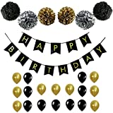 Black and Gold PARTY DECORATIONS - Perfect Adult Birthday Decorations Happy ...