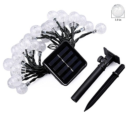 Icicle Solar Christmas String Lights ,Waterproof 30 LED Crystal Globe String Lights for Outdoor ...