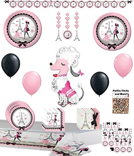 Pink Poodle Party in Paris Birthday Party Supplies Pack -
