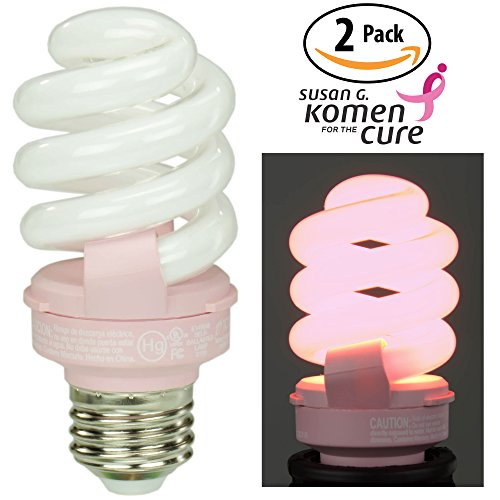 Pink breast cancer awareness light bulb 2 pack by TCP Benefits the Susan G. Komen for the Cure Foundation. 14 Watt (Equal to 60 w) CFL Lightbulb