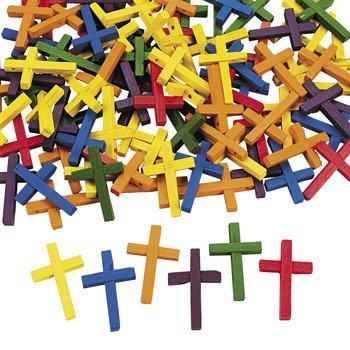 - 100 Wonderful Wood Cross Beads - Vacation Bible School & Craft Supplies