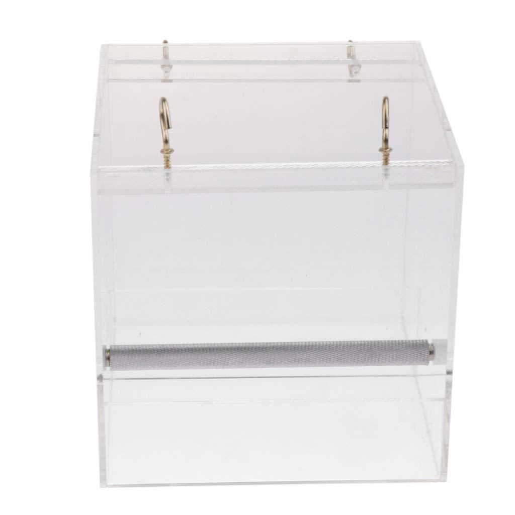 L Pet Bird Feeder Food Water Feeding Box Parred Finch Dispenser Cage Perch L