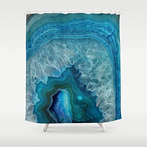 (CTdhuejkfro Blue Agate Marble Faux Druse Crystal Quartz gem Gemstone geode Mineral Stone Photograph Hipster Shower Curtain 72 x 72 inches )