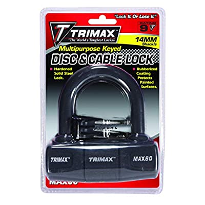 TRIMAX MAX60 Black Short Shackle U-Lock with PVC Sleeve: Automotive