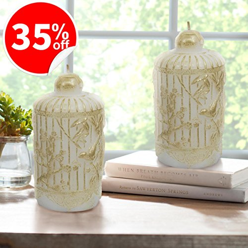 LA JOLIE MUSE White Candle Set 2 6.5'', Table Decorations Holiday Decor Gifts for Her, Handcrafted Bird and Leaves by LA JOLIE MUSE