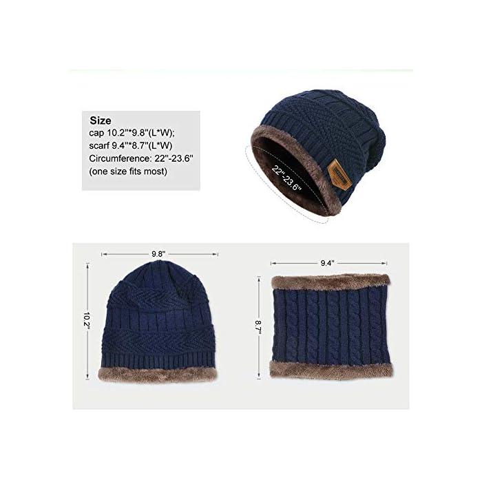 51ZjDXay7pL Gorro de punto y bufanda con forro polar grueso y cómodo Tejido fino de punto acrílico Acrylic knit & fleece lining