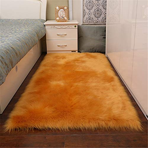 Gold Rug - CHITONE Indoor Furry Fluffy Soft Solid Faux Fur Sheepskin Area Rugs Pads,Livingroom Bedroom Nursery Room Floor Rug Carpet for Home Decorate,Gold,2'X3'