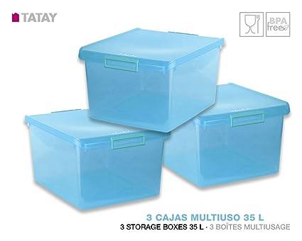 TATAY 1150019 Lote 3 Cajas Multiusos 35 Litros Medidas 48 x 38 x 26 cm Color