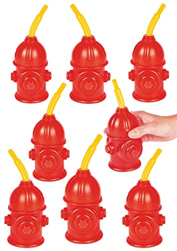 Fire Hydrant Truck - Firefighter Birthday Party Favors Supplies For Kids - Pack of 8 - Fire Hydrant Cups With Straws ~Reusable~ Plastic Fireman Cups 4