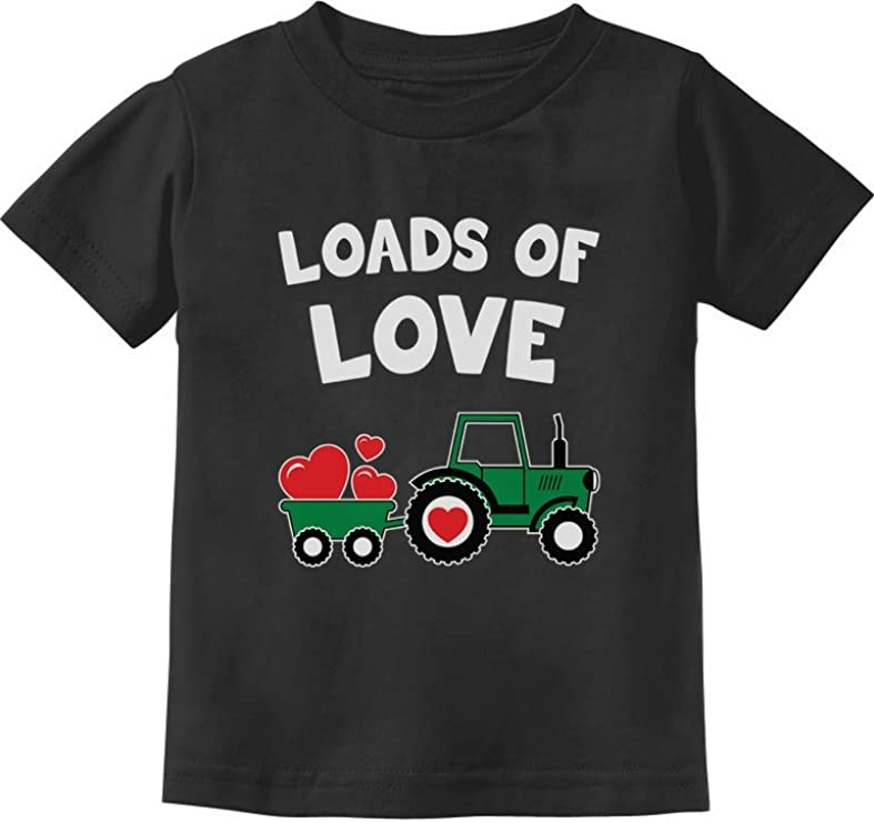 Loads of Love Valentines Gift Tractor Loving Toddler//Infant Kids T-Shirt