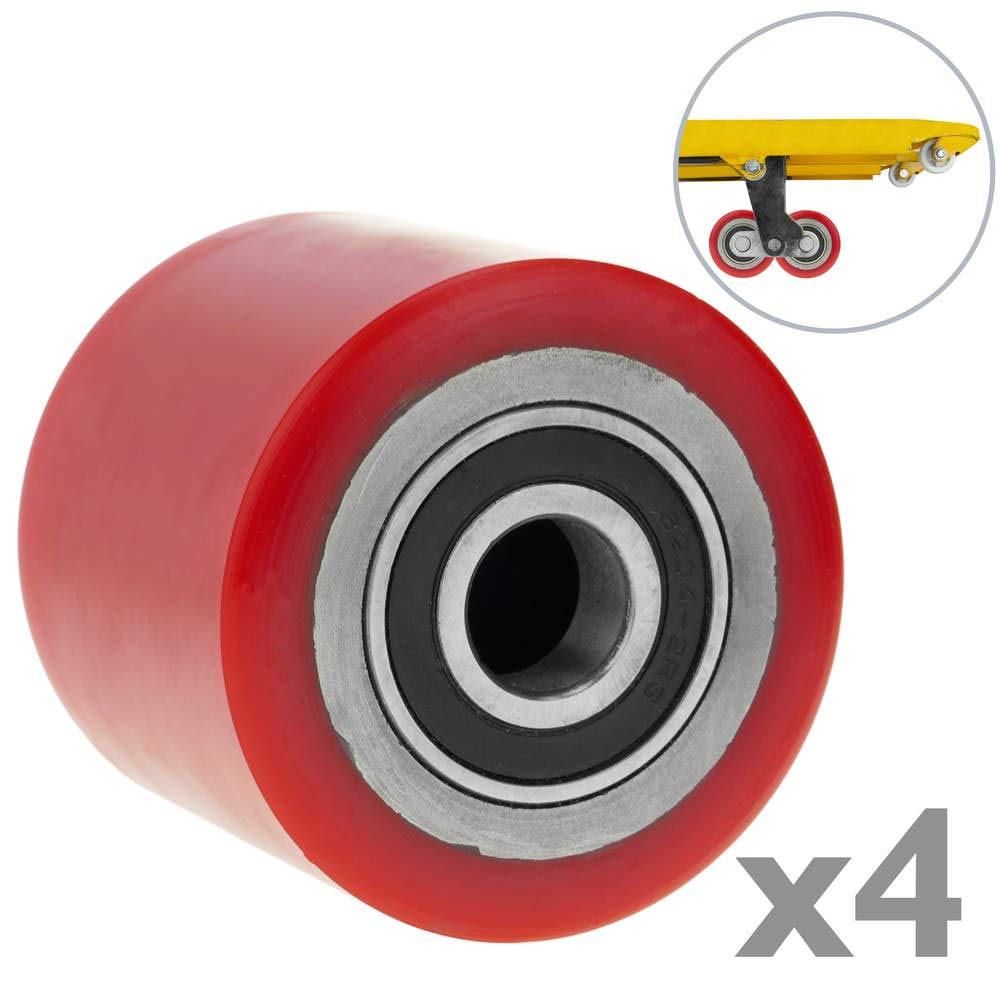 PrimeMatik - Wheel for pallet truck polyurethane roller 80x60 mm 700 Kg 4-pack PrimeMatik.com