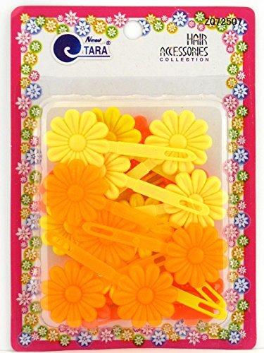 (Tara Girls Self Hinge Flower Barrettes - Orange & Yellow - 18)