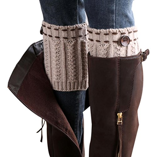 (Usstore 1Pair Women Socks Lace Stretch Boot Leg Cuffs Boot Stockings (A),One)