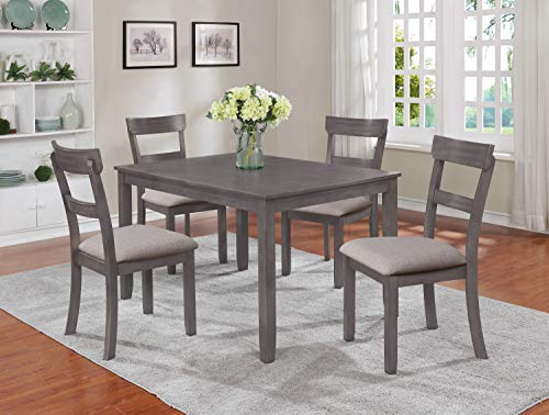 OS Home and Office Regular Height Table and Chairs five piece dining set medium GREY (Grey 5 Set Dining Piece)