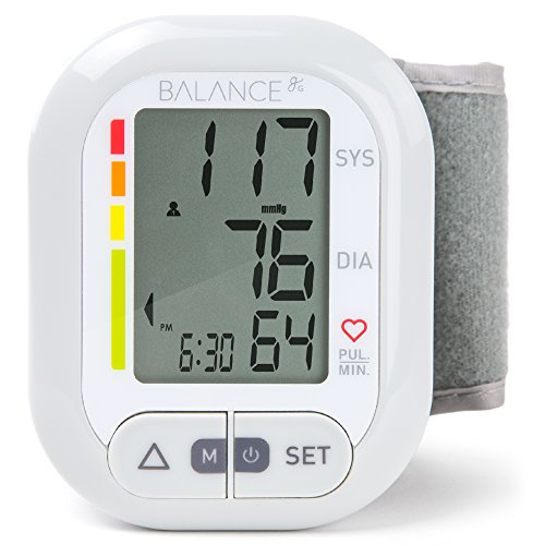 Balance Wrist Blood Pressure Monitor, Ultra Portable High Accuracy Readings with Easy-to-Read LCD, Two User Support and 2-Year Warranty