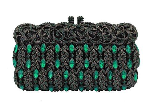 Yilongsheng Shining Rhinestones Vines Wedding Cocktail Party Tote Handbags and Clutch Bags for Women(Green) by YILONGSHENG