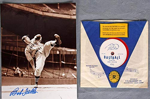 Bob Feller Signed Photo w/Record Indians - COA