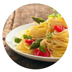 alfombrilla de ratón Espagueti con el espárrago verde fresco - ronda - 20cm