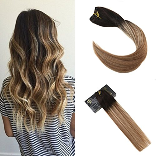 Ugeat 14inch Clip in Double Wefted Human Hair Extensions Bro