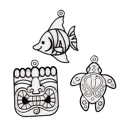 Fun Express - Tropical Suncatcher - Craft Supplies - Bulk Craft Accessories - Suncatchers - 24 Pieces