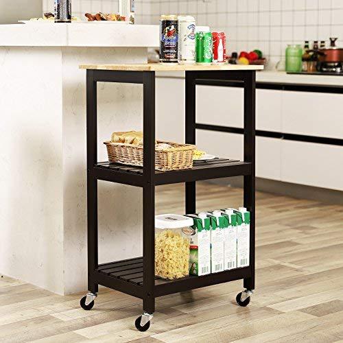 "SONGMICS 3-Tier Kitchen Cart, Rubber Wood Rolling Utility Storage Shelf, Two-Tone Design, UKKC53Z, 20.9""L x 14.9""W x 33.9""H, Brown"