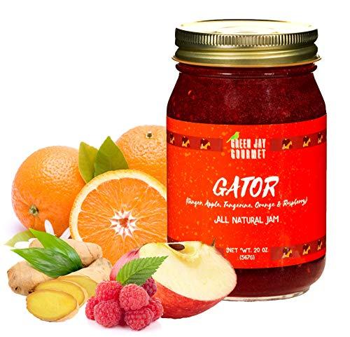 Green Jay Gourmet GATOR Jam - All-Natural Fruit Jam - Ginger, Apple, Tangerine, Orange, Raspberry Jam - Vegan, Gluten-free Fruit Jam - Contains No Preservatives - Raspberry Jam Made in - Rhubarb Jam Raspberry
