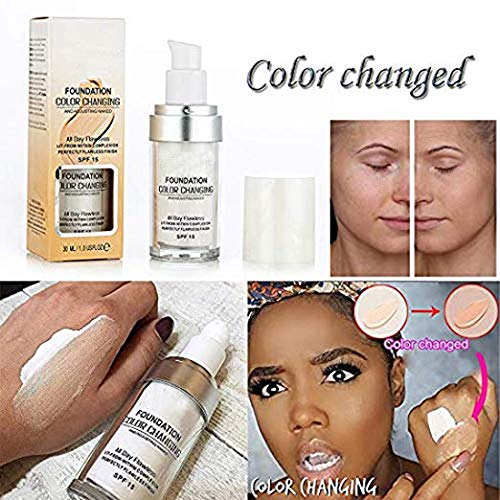 TLM Concealer Cover,Flawless Colour Changing Warm Skin Tone Foundation Makeup Base Nude Face Liquid Cover Concealer