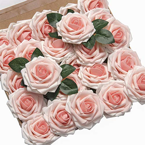 (Ling's moment Roses Artificial Flowers 25pcs Realistic Blush Heirloom Fake Roses with Stem for DIY Wedding Bouquets Centerpieces Foral Arrangements Decorations )