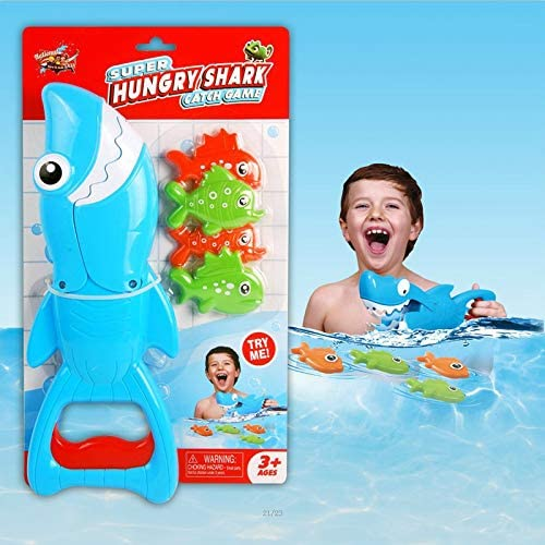 INvench Shark Grabber Baby Bath Toys Blue Shark with Teeth Biting Action Include 4 Toy Fish Bath Toys for Boys Girls Toddlers Blue