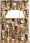 "Golden Rugs 3pc Kitchen Curtain and Valance Set/1 Swag Valance and 2 Tiers,2 Tiers Width 30""x 36"" Each and The Valance Length 60""x36"" (Coffee)"