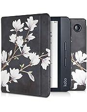 kwmobile Case Compatible with Kobo Libra H2O - Case PU e-Reader Cover - Magnolias Taupe/White/Dark Grey