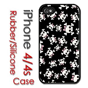 iPhone 5s for kids Rubber Silicone Case - Girl Skulls Pink Bow Crossbones Cute