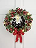 Lighted Nativity Scene Christmas Wreath