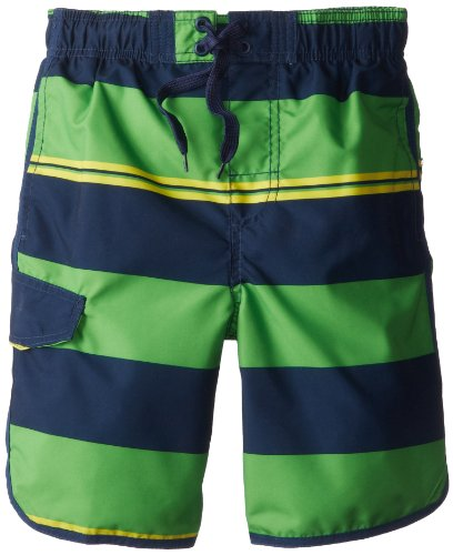 Kanu Surf Big Boys' Traction Swim Trunks, Navy/Green, X-Large (18/20)