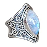 Statement Rings for Women Girls,Yamally Vintage Boho Natural Gemstone Marquise Moonstone Personalized Ring Jewelry (10, Silver 01 ☘)