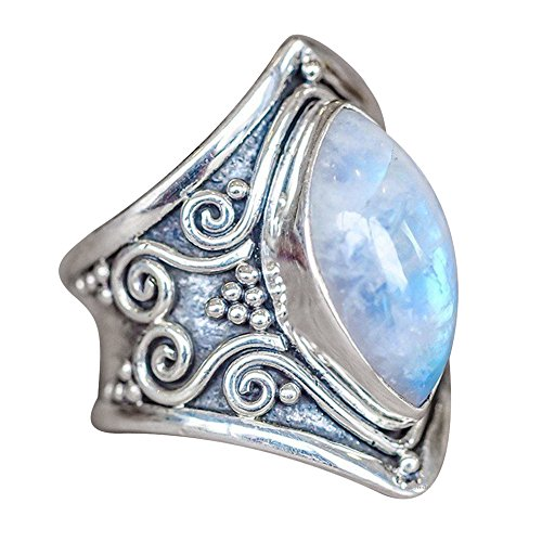 HIRIRI Moonstone Opal Ring Necklace Retro Stylish Gem Inlaid Accessories Wedding Engagement Present (Blue, 11)