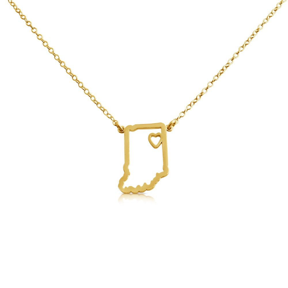 22 Azaggi Gold Plated Sterling Silver Handcrafted Home Is Where The Heart Is Indiana State Pendant Necklace