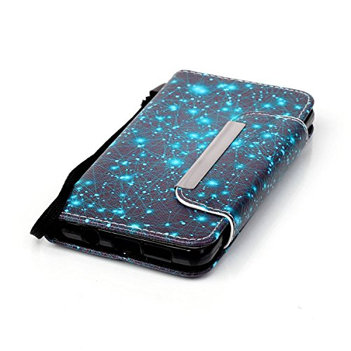 Samsung Galaxy A3 2016/A310F Elegante Colorido Wallet Funda[con HD Pantalla Protector],Carcasa Libro PU Premium Choque Absorción Leather Cuero Impresión - KaseHome Flip Case Cover Con TPU Goma Flexibl azul estrella