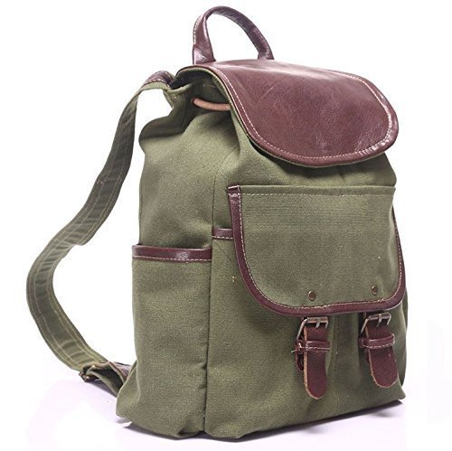 Green Canvas Leather Unisex Handmade Backpack by AnyLeatherDesigns